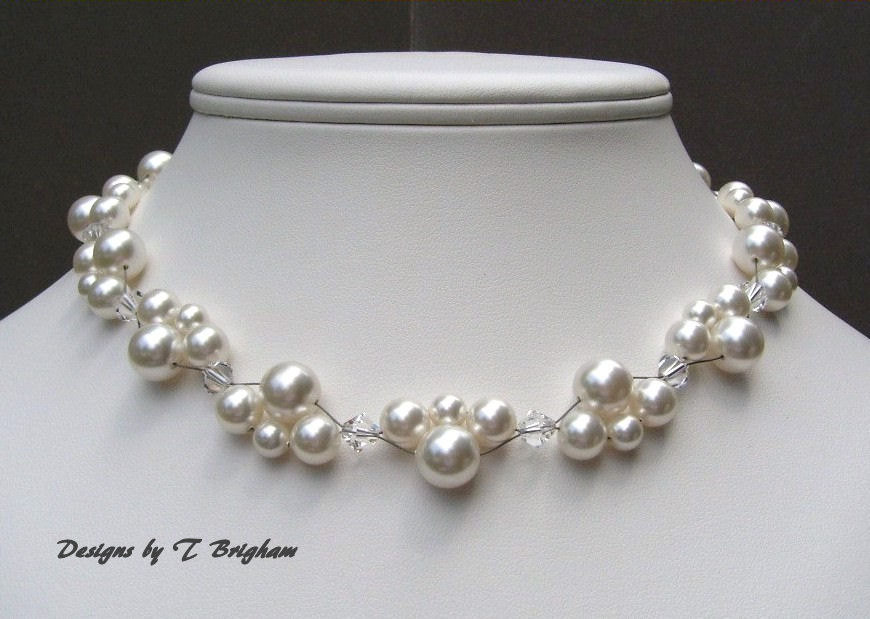 Swarovksi Pearl and Crystal Woven Bridal Necklace